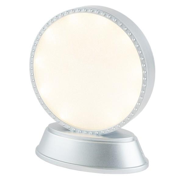LED-Relaxleuchte, Rundform, Ø 11,7cm, Diamant-Lichteffekt-Folie, 10 LEDs, Warmweiß, silber