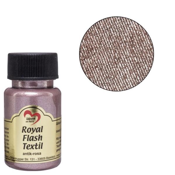 Royal Flash Textil, Glitzer-Metallic-Farbe, 50 ml, antik-rosa