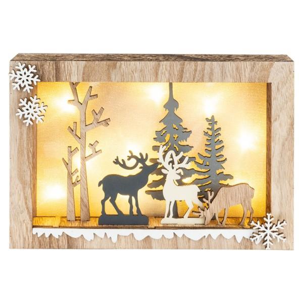 3-D LED-Holzbox, 10-teilig, Waldszene, 10 LED-Lämpchen in Warmweiß, 20cm x 29,9cm x 4cm