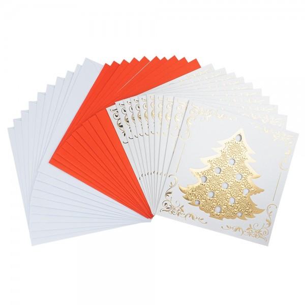Deluxe-Grußkarten, Weihnachtsbaum 2, 16cm x 16cm, inkl. Einleger und Umschläge