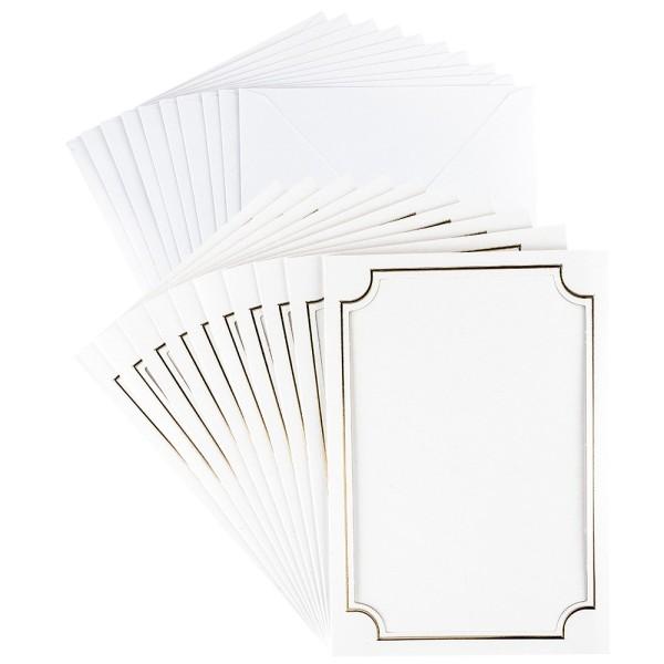 Dreifach-Grußkarten, Passepartout, Rahmen, B6, mit Goldfolienveredelung, inkl. Umschläge, 10 Stück
