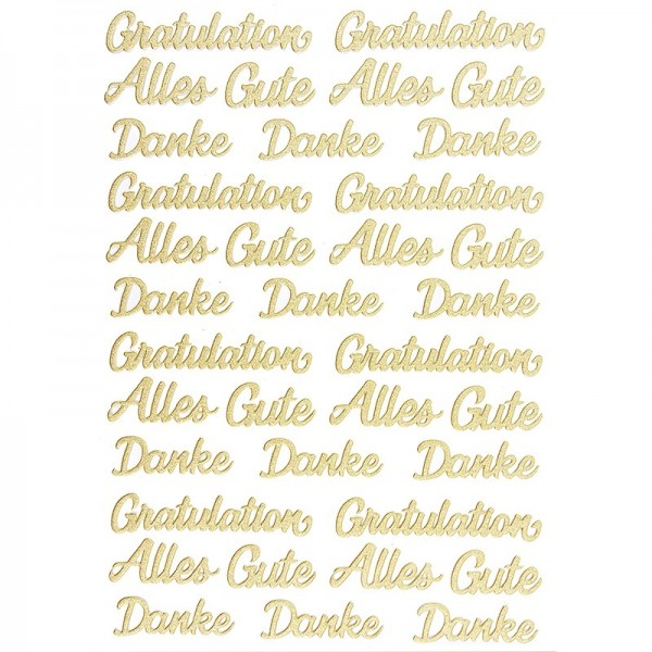 """3-D Sticker, Deluxe Schriften """"Gratulation"""", verschiedene Größen, selbstklebend, gold"""