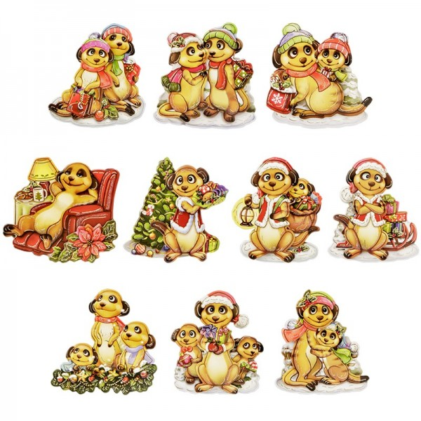 3-D Motive, Erdmännchen Weihnacht, 6,5-7,5cm, 10 Motive