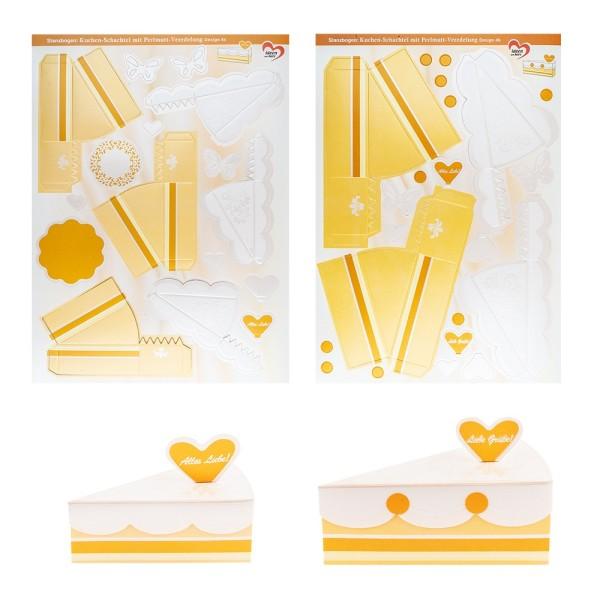 Stanzbogen, Kuchen-Schachteln, Design 4b & 4c, DIN A4, 10 Stück