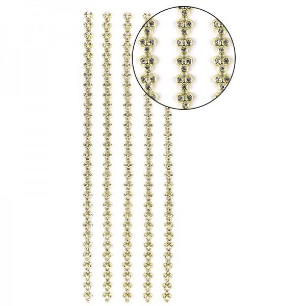 """Premium-Schmuck-Bordüren """"Strass-Trio"""", selbstklebend, 29cm, mit Glas-Kristallen, gelbgrün"""