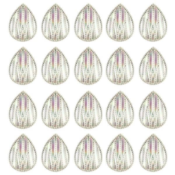 Kristallkunst-Schmucksteine, Tropfen 4, 4cm x 3cm, klar irisierend, 20 Stück