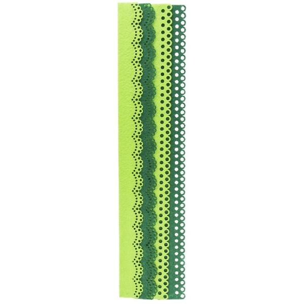 Folia Filzbordüren, grün & dunkelgrün, 30cm, 4 Stück
