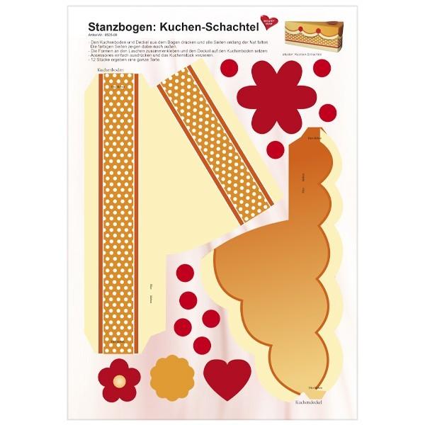 Stanzbogen, Kuchen-Schachtel, DIN A4, Design 9