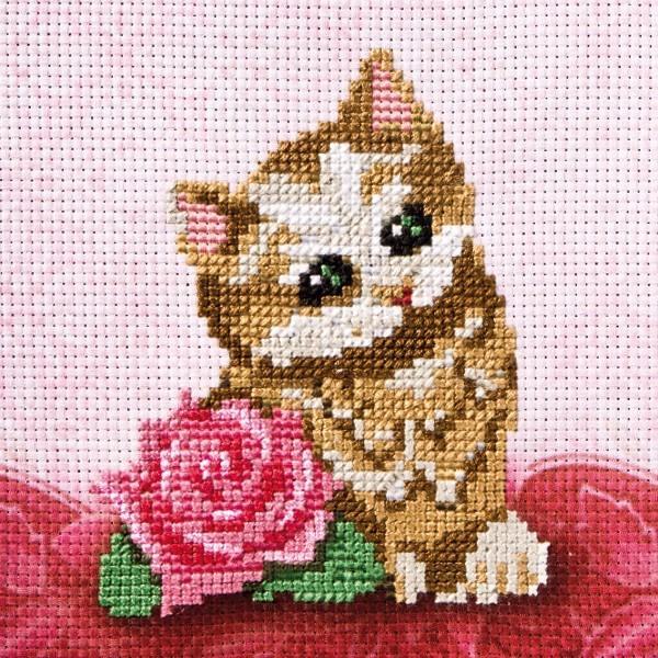 Stickbild-Set, malerischer Hintergrund,  14,5x14,5cm, Katze