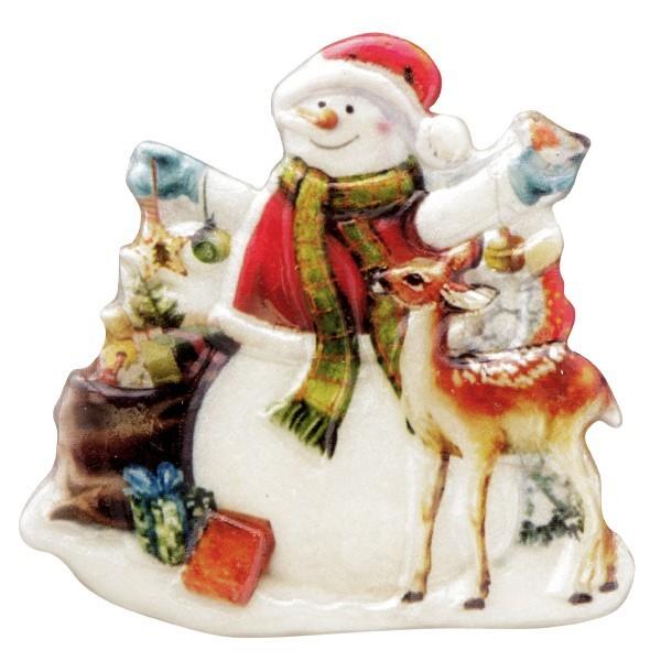 Wachsornament Schneemänner 10, farbig, geprägt, 7cm