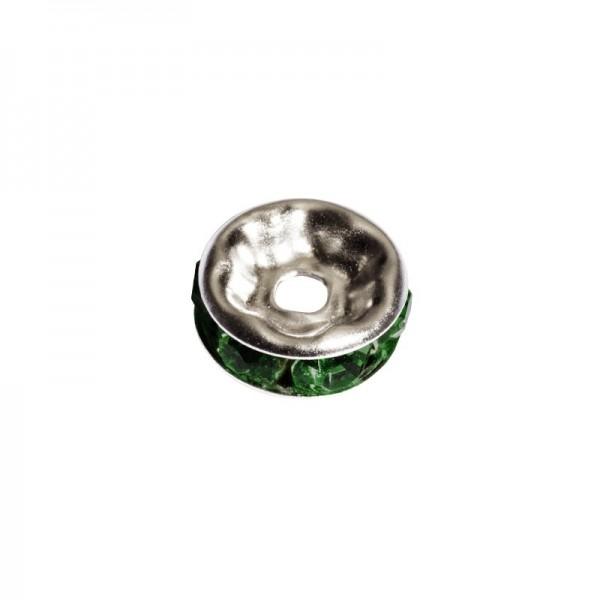 Strass-Rondell mit Strass-Steinen, Ø0,8 cm, 10 Stück, silber/smaragd