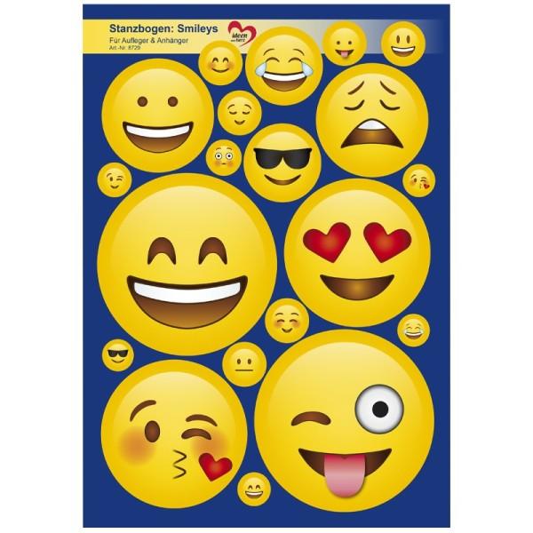 Stanzbogen, Smileys, Aufleger & Anhänger, DIN A4