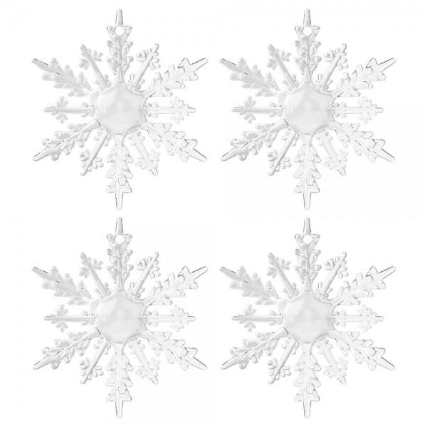 Deko-Eiskristalle 1, Ø 10,5cm x 0,8cm, klar, 4 Stück