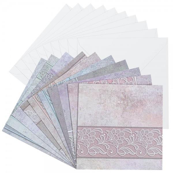 Motiv-Grußkarten, Spitze, 16cm x 16cm, 230 g/m², verschiedene Designs, inkl. Umschläge, 10 Stück