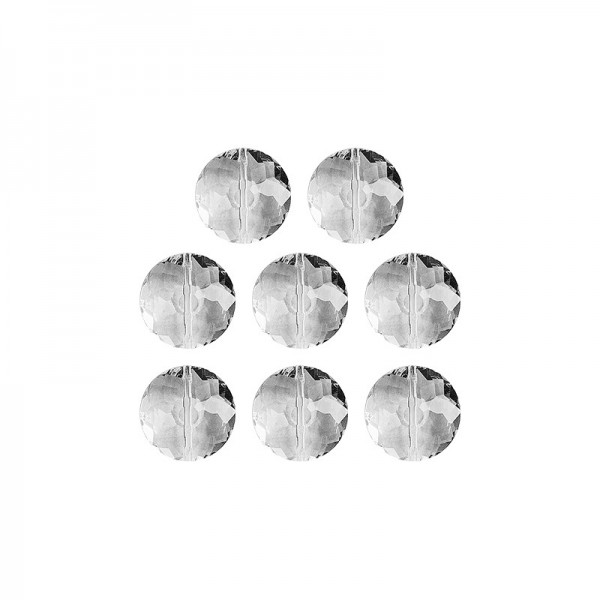 Glaskunst, Perlen, Sonne, 1,8cm x 1cm, facettiert, klar, 8 Stück