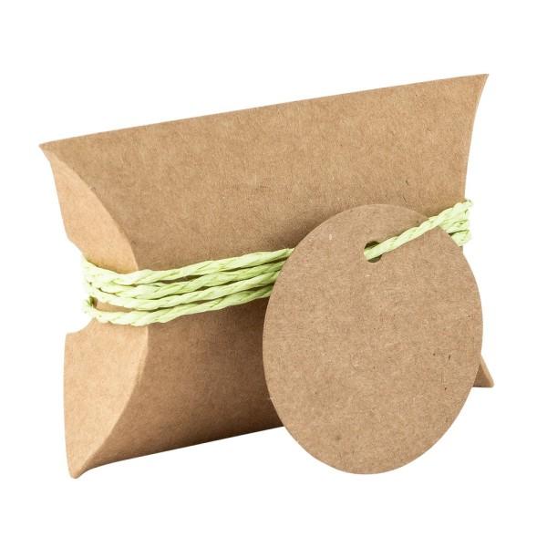 Kraftpapier-Kissentaschen, 6,5cm x 9cm, inkl. Anhänger & hellgrüne Papierkordel, 50 Stück