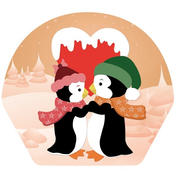 """Deko-Bild, Pinguine \""""in Love\"""", 18,5 x 20,5 cm, 2er Set"""