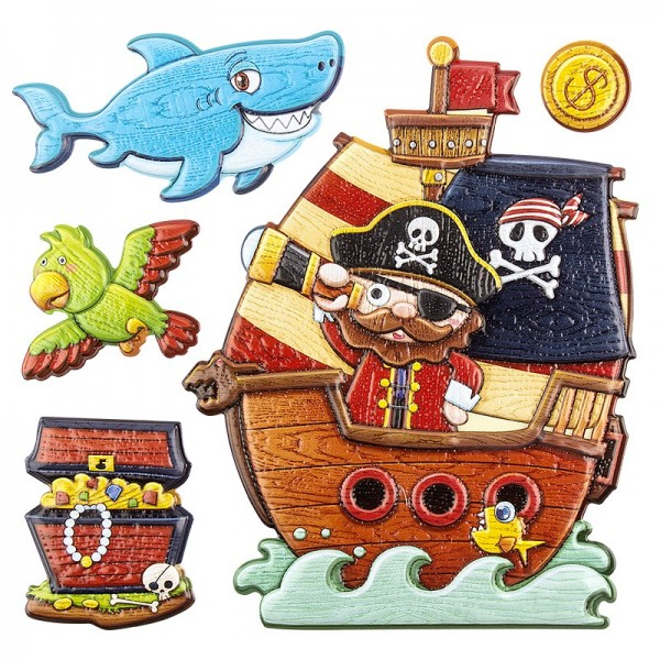 Relief-Sticker in Holz-Optik, Piratenschiff, 18x17,5cm