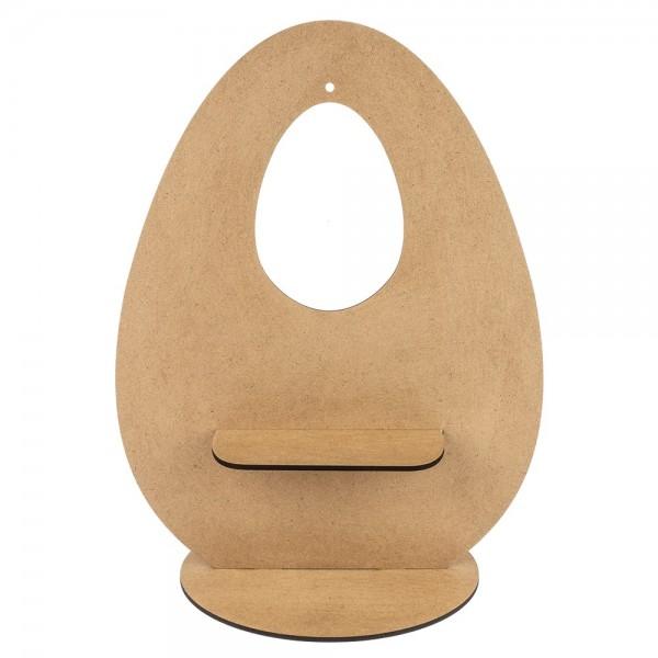 Deko-Ei aus Holz zum Aufstellen, Design 3, 30cm  x 23,3cm, mit eiförmiger Aussparung & Podest