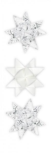 """Fröbelsterne, """"Orient"""", weiß/silber, mit Perleffekt und glänzender Folienveredelung, 80 Faltstreifen"""