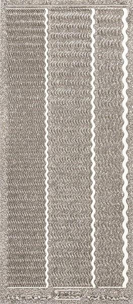 Microglitter-Sticker, Wellen-Linien, 3 Breiten, silber