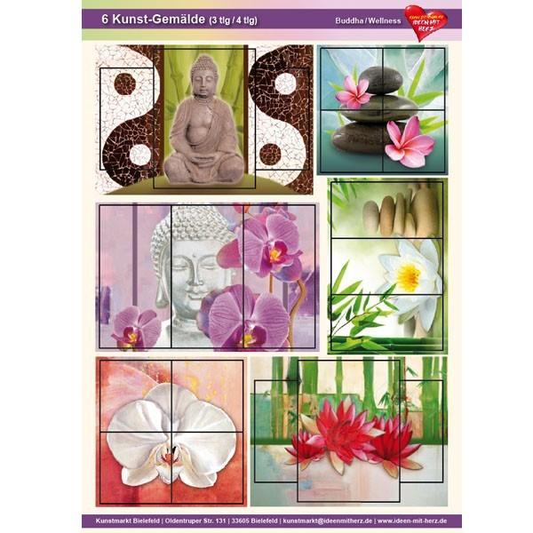 Kunst-Gemälde, A4 Bogen, 6 Stück, 3-/4-tlg, Budda/Wellness