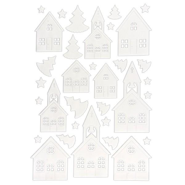 3-D Sticker, Deluxe Häuser & Kirchen, verschiedene Größen, selbstklebend, weiß