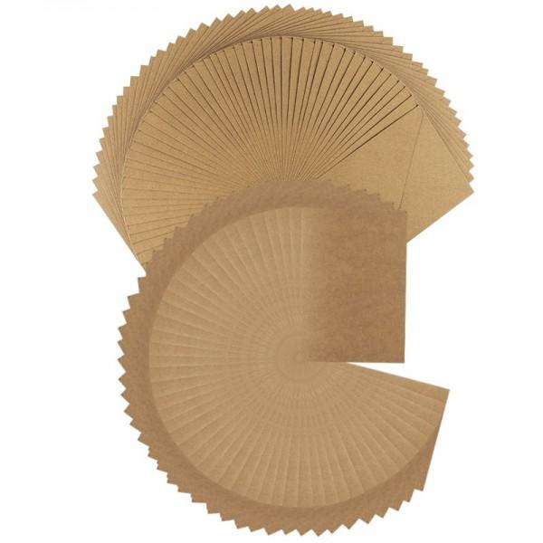 Grußkarten & Umschläge, Kraftpapier, B6 (11,5cm x 16,5cm) 270 g/m², Umschläge 120 g/m², 100-teilig