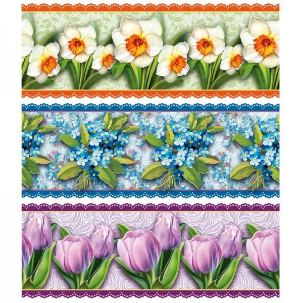 """Zauberfolien """"Frühlings-Blüten"""", Schrumpffolien für Eier mit 6cm x 4,5cm, 5,5cm hoch, 6 Stück"""