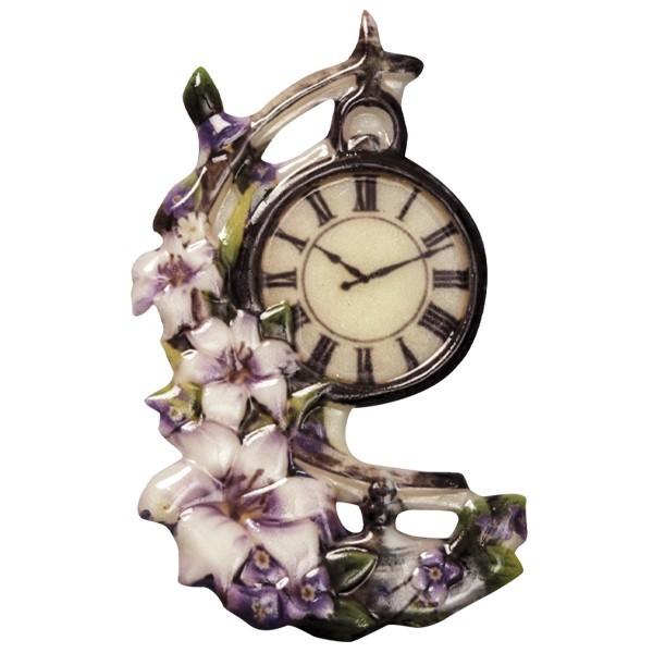 Wachsornament Uhr 4, farbig, geprägt, 7-8cm
