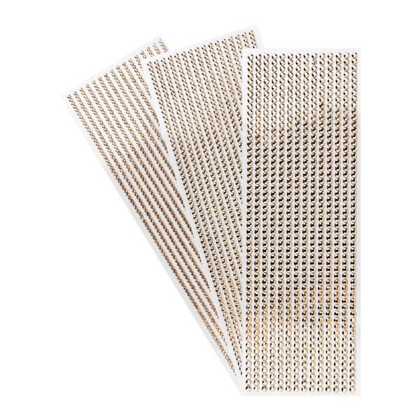 Schmuckstein-Bordüren, metallic, 10cm x 30cm, verschiedene Größen, facettiert, kupfer, 3 Boge