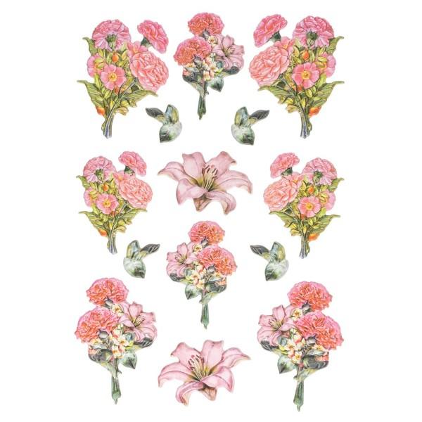 3-D Relief-Sticker, Nelken-Sträuße 2, 21cm x 30cm, verschiedene Größen, selbstklebend