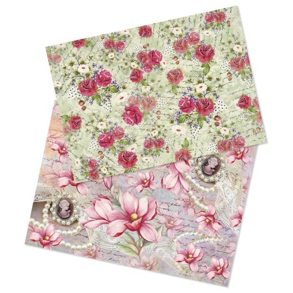 """Reispapiere, Nostalgie """"Blüten 3"""", DIN A4, 2 Designs"""