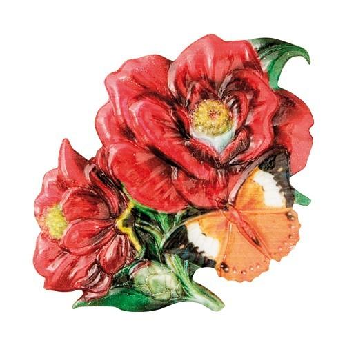 Wachsornament Blumen & Schmetterlinge 9, farbig, geprägt, 7cm