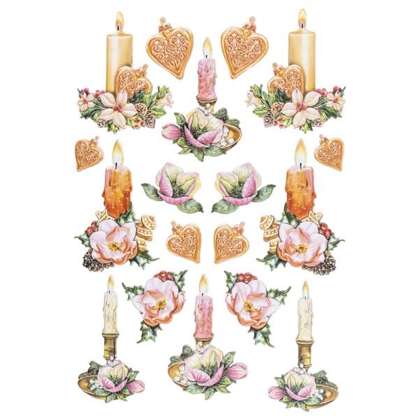 3-D Relief-Sticker, Weihnachtliche Kerzen, versch. Größen, selbstklebend