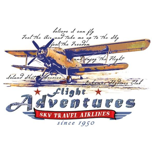 Color Bügeltransfers, DIN A4, filigran ohne Hintergund, Vintage Flugzeug 2