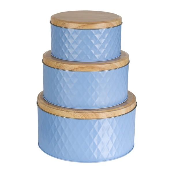 Metall-Dosen, hellblau, 3 verschiedene Größen, 3 Stück