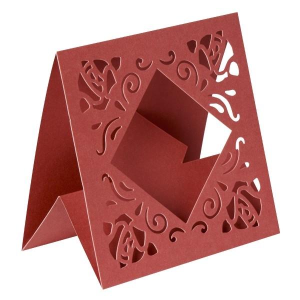 Aufstell-Grußkarten mit Stanz-Ornamentik, 14x14cm, rot, 10 Stück