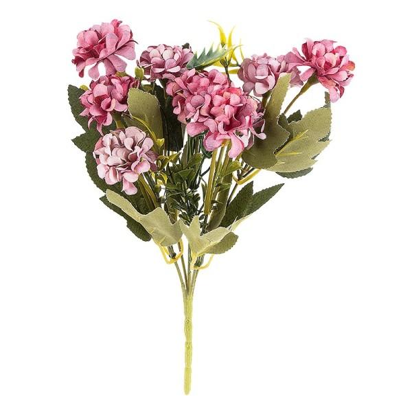 Blütenbusch, Hortensien 1, 27cm hoch, 9 große Blüten Ø 4cm, Beerentöne