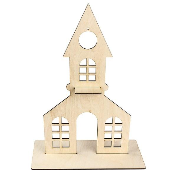 Deko-Kirche aus Holz zum Aufstellen, 38cm x 21,2cm, mit kreisförmiger Aussparung und Podest