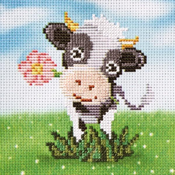 Stickbild-Set, malerischer Hintergrund,  14,5x14,5cm, Kuh