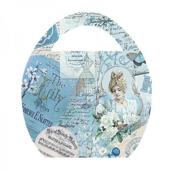 """Deko-Bild """"Ei-Tasche Vintage"""", mit Griff, 20x23cm, blau, 2 Stück"""