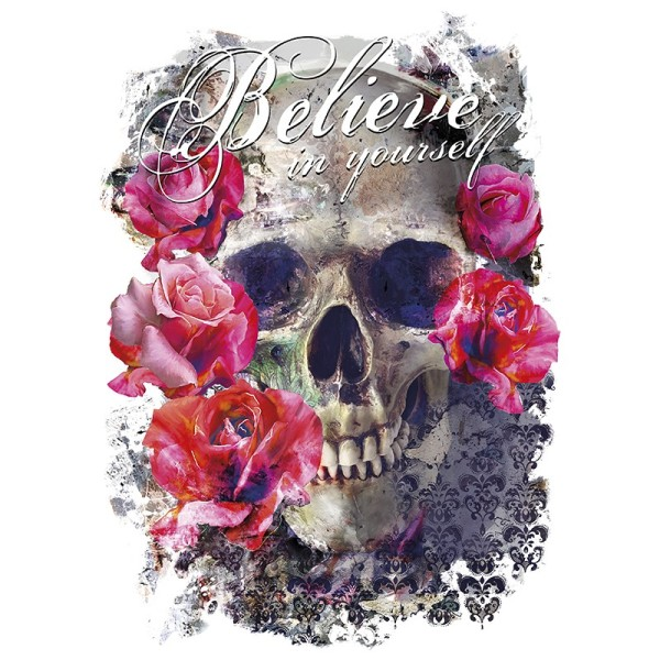 Color Bügeltransfers, 23,5cm x 34cm, filigran ohne Hintergund, Skull 'n' Roses