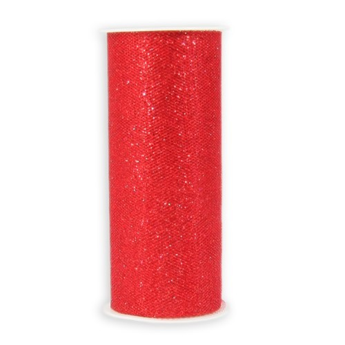 Deko-Tüll-Band mit Glimmer, 12 cm x 5 m, rot