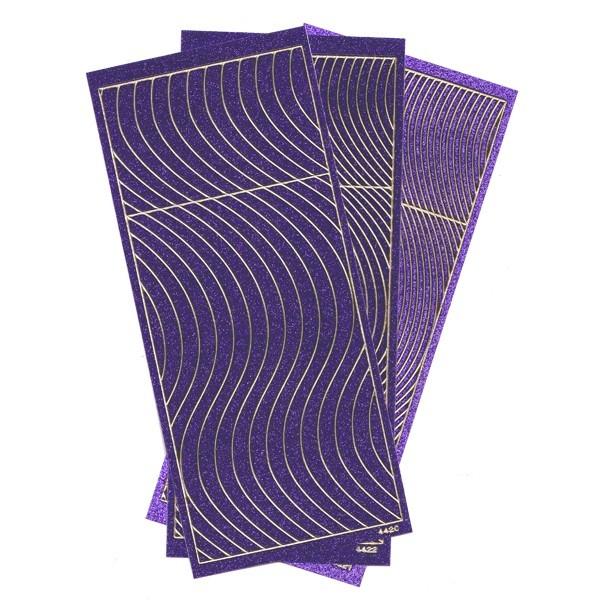 Microglitter-Sticker, Schwung-Linien, 3 Bogen, violett