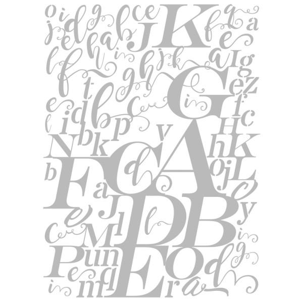 Metallic-Bügeltransfer, Hintergrund, Buchstaben, 25cm x 34cm, silber glänzend