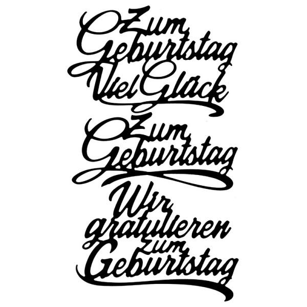 Stanzschablonen, Schriften, Geburtstagswünsche 10, 3 Stück