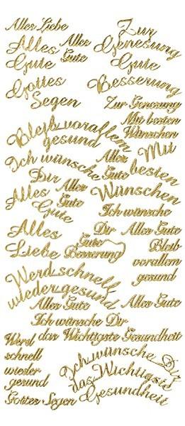 Sticker, Schrift, Wünsche, gold