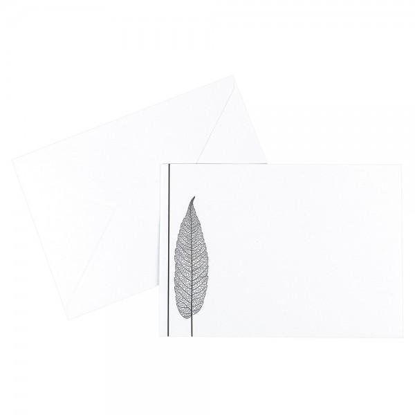 Umschläge, Kondolenz, Blatt, B6 (12,5cm x 17,5cm), 120 g/m², weiß mit Druck, 10 Stück