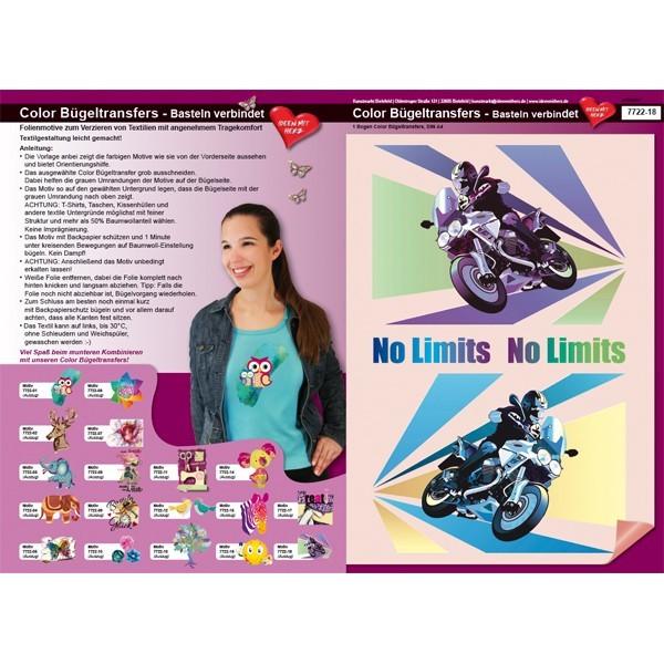 Color Bügeltransfers, DIN A4, Motorrad